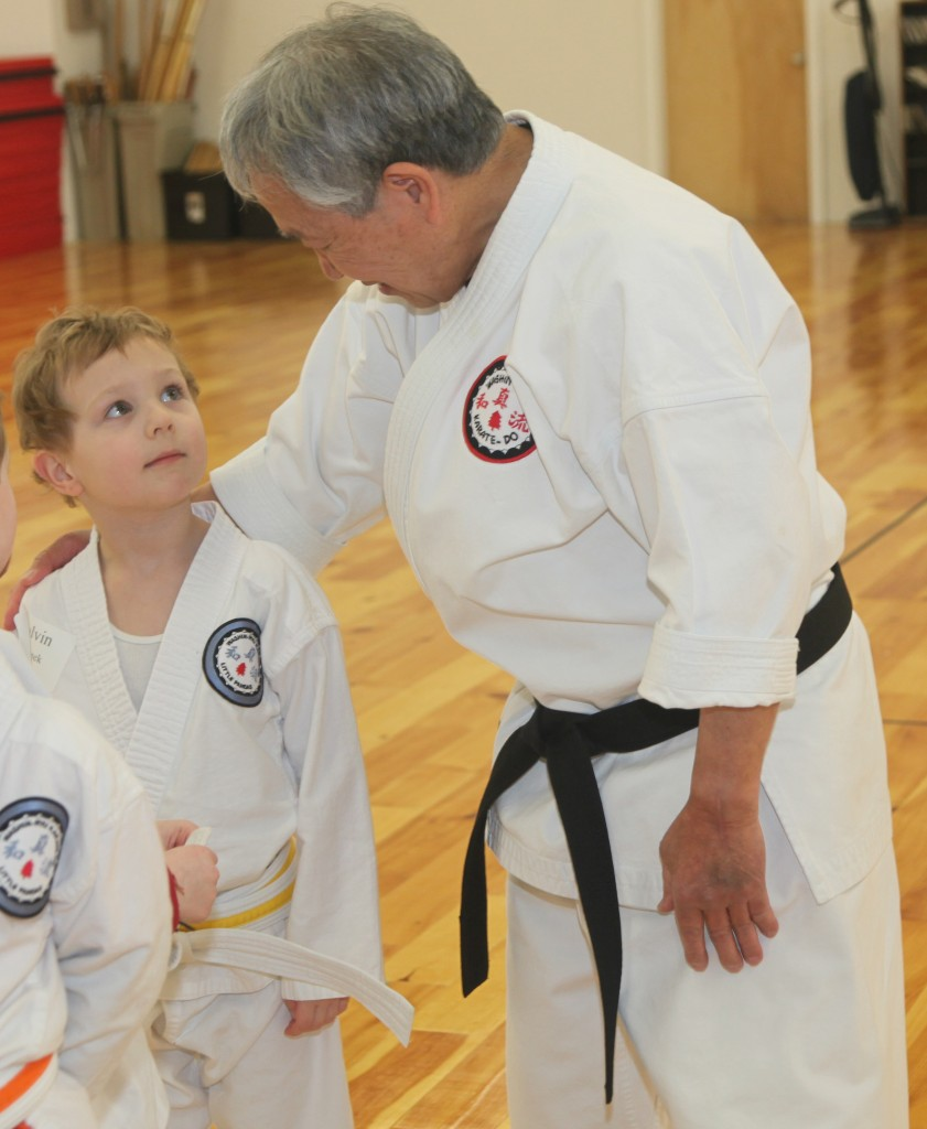 Master Hidy Ochiai with Little Panda Karate Student